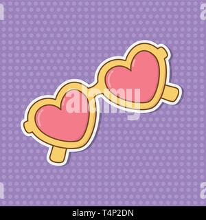heart shape sunglasses with background icon cartoon vector illustration graphic design - Stock Image