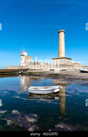 Penmarch, France - August 2, 2018: Eckmuhl Lighthouse in the Point Penmarch - Stock Image