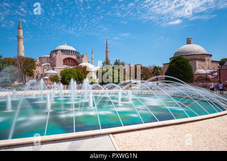 Istanbul, Turkey - August 15, 2018: Daytime view of the world's famous Hagia Sophia museum from Sultan Ahmet Park on August 15, 2018 in Istanbul, Turk - Stock Image