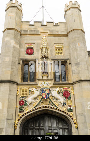Armorial decoration on Christs college gate tower Cambridge 2019 - Stock Image