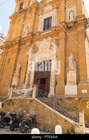 Italy Sicily Agrigento Piazza Purgatorio Chiesa di San Lorenzo rebuilt 1600s famed statues sculptures Christian Virtues portal spiral pillars columns - Stock Image