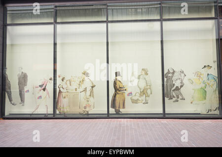 The Museum of London use drawings of Victorian people as part of their external exterior. - Stock Image