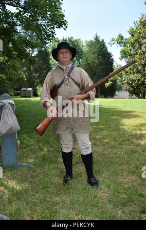 A Revolutionary War Reenactor at Guilford National Military Park. - Stock Image