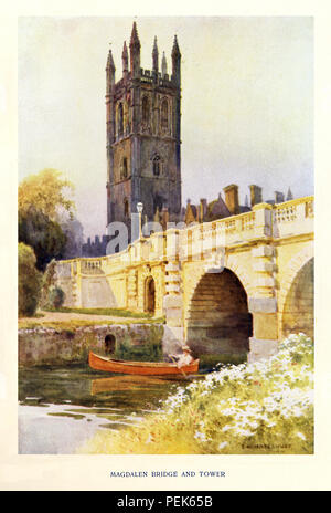 Magdalen Bridge and Tower, 1920 watercolour of the famous scene I'm the university city next to the River Cherwell - Stock Image