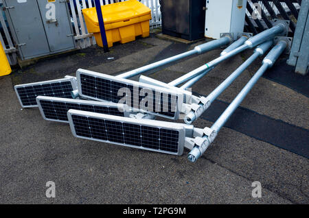 Self contained solar powered lighting for installation on a small branch line railway station - Stock Image
