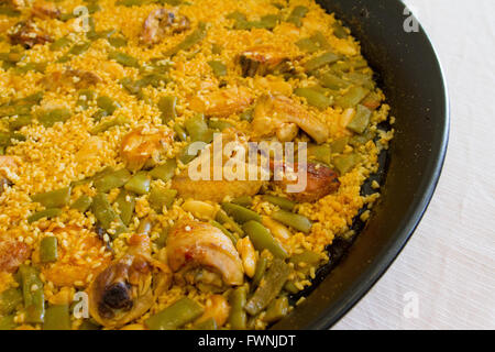 Paella dish from Valencia Spain - Stock Image