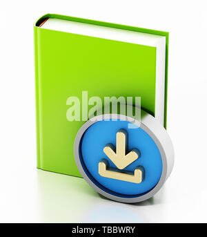 Book with download arrow icon isolated on white background. 3D illustration. - Stock Image