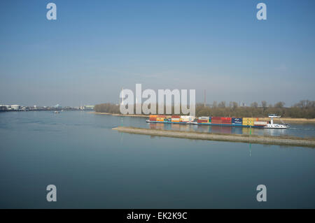Container ship, river Rhine, Cologne, Germany. - Stock Image