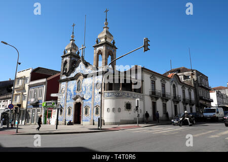 Azulejos tiles on Igreja Paroquial do Carvalhido church on the corner of Praça do Exército Libertador and  Rua da Prelada Porto Portugal  KATHY DEWITT - Stock Image