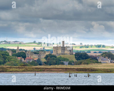 A view toward Warkworth castle. - Stock Image