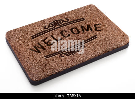 Door mat with welcome text isolated on white background. 3D illustration. - Stock Image