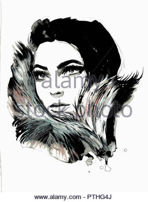 Close up of beautiful woman wearing fur collar - Stock Image