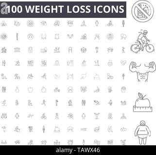 Weight loss line icons, signs, vector set, outline illustration concept  - Stock Image