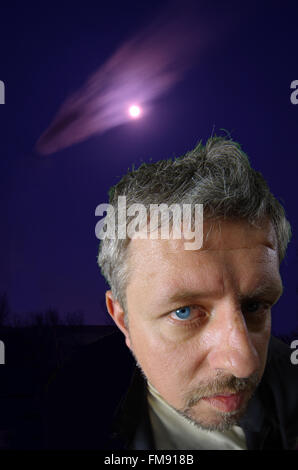 Full Moon, psychological portrait of a man. - Stock Image