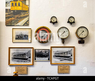 U-Bahn Museum Berlin. Transport museum in one of the former historic control rooms at the Olympia Stadium metro station. Old photographs & gauges. The - Stock Image