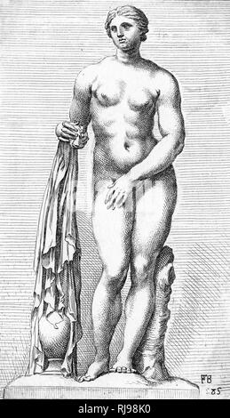 Depicted holding drapery which partially covers an urn - Stock Image