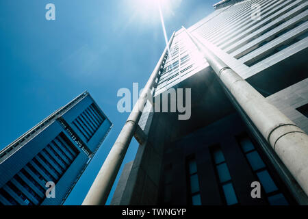 Blue cold tones colors of skyscrapers with sunlight - looking up perspective, city view of offices and financial district with bank and insurance peop - Stock Image