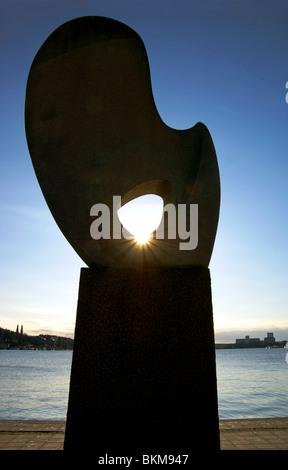 The Solbåten statue on Riddarholmen in Stockholm, Sweden - Stock Image