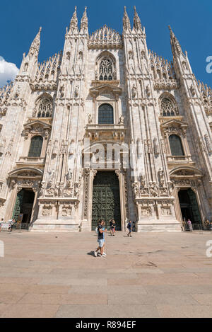 Vertical view of Milan cathedral in Milan, Italy. - Stock Image
