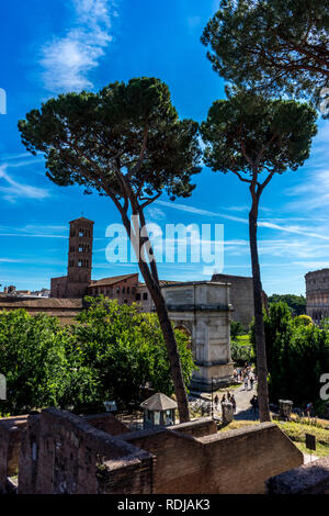 Rome, Italy - 24 June 2018: The ancient ruins at the Roman Forum in Rome - Stock Image