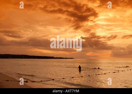 Jamaica Negril beach sunset - Stock Image