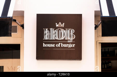 Sign outside House of Burger, a restaurant in Seville - Stock Image