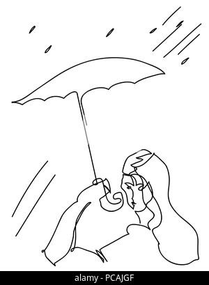 An umbrella and woman.  simple line illustration of umbrella and woman. woman in the drizzle rain. - Stock Image