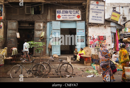 Naba Jeevan Poly Medical Clinic on Mirza Ghalib Street, Kolkata, India - Stock Image