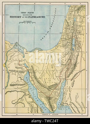 Map showing lands where the ancient Jewish people lived. Color lithograph - Stock Image