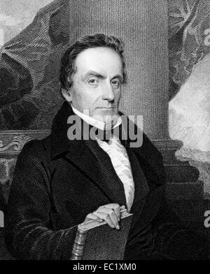 Lewis Cass (1782-1866) on engraving from 1834. American military officer and politician. - Stock Image