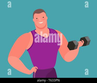 Muscular bodybuilder lifts heavy dumbbell. Gym, cartoon vector illustration - Stock Image