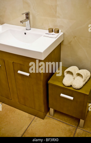 Slipper on a cabinet near a washbasin - Stock Image