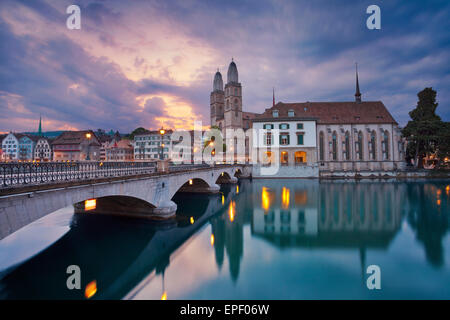 Zurich. Image of Zurich during dramatic sunrise. - Stock Image