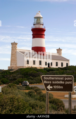 south africa cape agulhas sothermost point of africa lighthouse - Stock Image