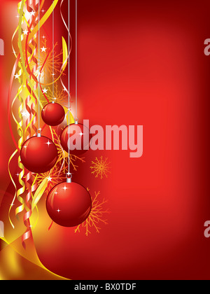 Christmas background with confetti and baubles - Stock Image