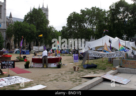 Democracy Village Peace Camp in Parliament Square Westminster London 6 July 2010 - Stock Image