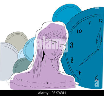 Time and woman.  illustration of time concept about pensive woman and her souls. - Stock Image