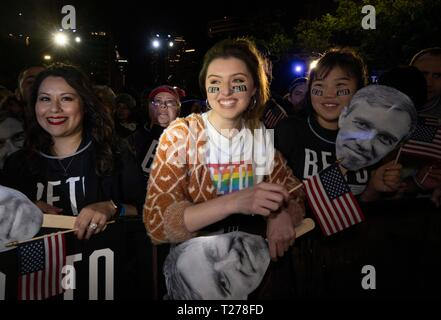 Young supporter wearing Beto eye black sticker smiles as the former congressman Beto O'Rourke of El Paso, TX kicks off his presidential campaign at a late night rally in front of the Texas Capitol. - Stock Image