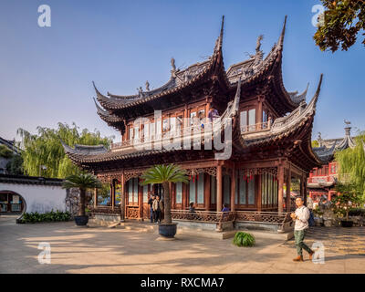 29 November 2018: Shanghai, China - Cuixiu Hall, a pavilion in the Yu Garden, part of the Shanghai Old Town district. - Stock Image