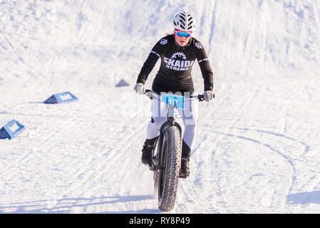 Fatbike race, Nerskogen IL, Alta, Finnmark, Norway. - Stock Image
