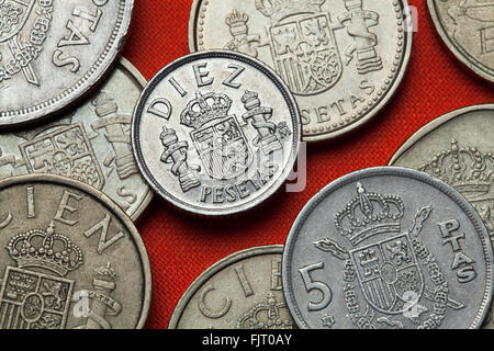 Coins of Spain. Coat of arms of Spain depicted in the Spanish 10 peseta coin. - Stock Image