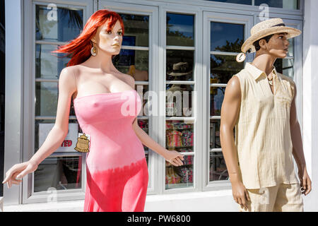 Miami Beach Florida Ocean Drive New Year's Day Art Deco District store shop shopping mannequins outdoors fashion trends female - Stock Image