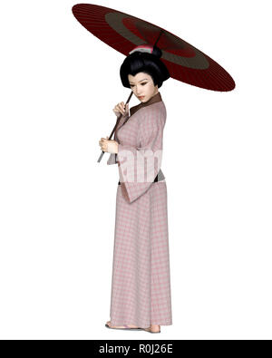 Young Japanese Woman in Pink Kimono with Parasol - Stock Image