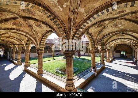 The cloister of Santa Maria Novella Church. Santa Maria Novella is a church in Florence, Italy, situated just across - Stock Image