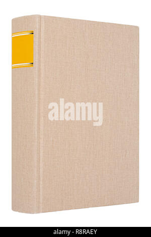 Grey book with yellow frame on spine isolated on white background - Stock Image