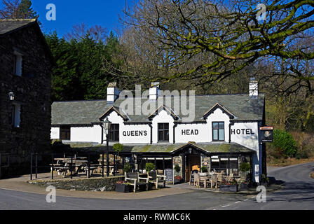 Queen's Head Hotel. Troutbeck, Windermere, Lake District National Park, Cumbria, England, United Kingdom, Europe. - Stock Image