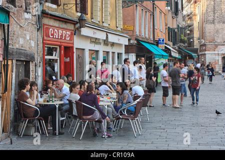 Italian cafe 'Caffè Rosso' at campo Santa Margherita, Venice, Italy - Stock Image