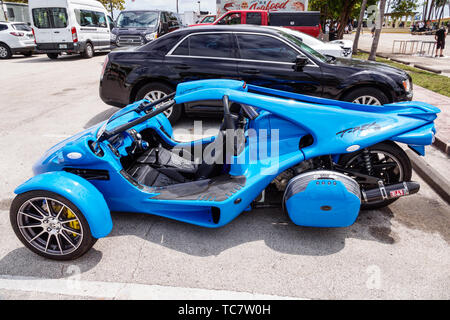 Miami Beach Florida Campagna T-REX two-seat three-wheeled motor vehicle made in Quebec - Stock Image