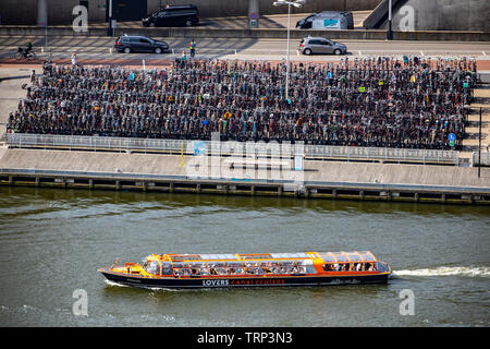Amsterdam, Netherlands, ferry terminal at the central station and bus station, Amsterdam Centraal, river Ij, passenger ferries, bicycle parking facili - Stock Image