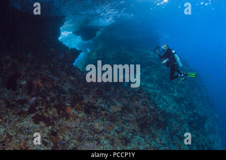 Female scuba diver with video camera photographs the backside of Boo Windows. Raja Ampat, Indonesia. - Stock Image